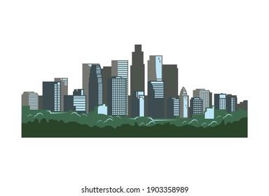landscape city illustration in white background