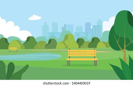 Landscape in city park .  Bench and lake. Vector flat style Illustration.