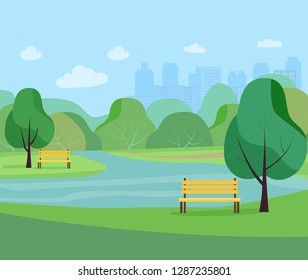 Landscape in city park .  Vector flat style Illustration.