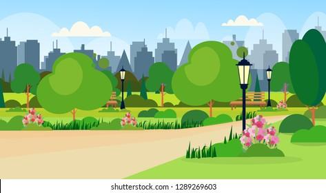 landscape of city public summer park scene wooden bench street lamp modern buildings skyline cityscape background flat horizontal