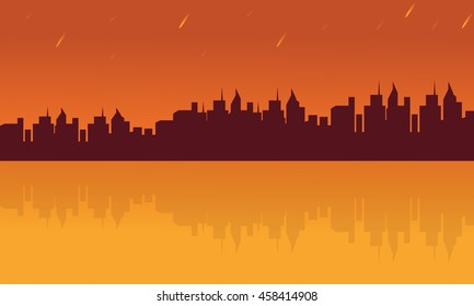 Landscape city and reflection silhouettes on orange backgrounds