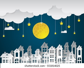 Landscape City Village with full moon and urban.paper art style