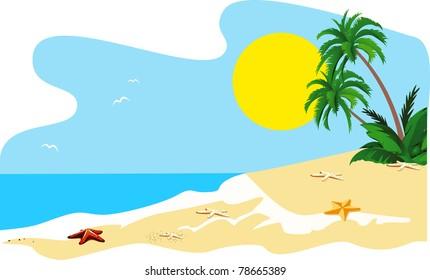 Landscape of a coast of tropical island vector
