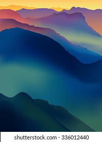 Landscape with colorful mountains at sunset or dawn. Vector panorama of daybreak.