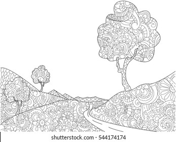 Landscape coloring book for adults vector illustration. Anti-stress coloring for adult pathway. Zentangle style nature. Black and white lines footpath. Lace pattern meadow
