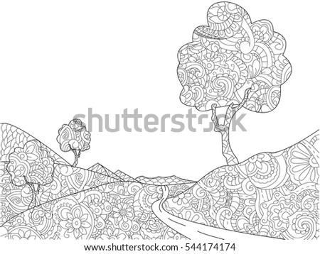 Landscape Coloring Book Adults Vector Illustration Stock ...