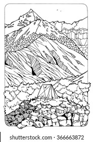 landscape for coloring; mountains and wood; traveling theme