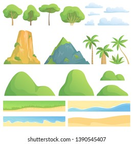 Landscape constructor. Creation kit with trees bushes mountains hills clouds coast sand and grass vector cartoon collection