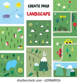 Landscape constructor with nature elements for design, vector graphic illustration