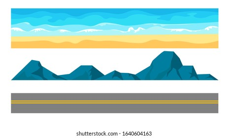 Landscape constructor set. Beach sand, ocean or sea, stone mountains and highway road. Rock formations, cliff, water waves, blue sky layers collection for landscaping design. Vector illustration.