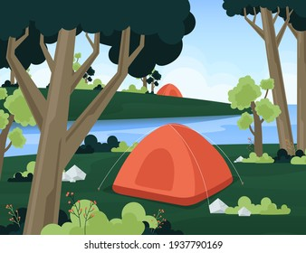 Сamping landscape. Countryside nature. Tent. Tourism - expedition, travel, explore. Outdoor recreation. Vector illustration.