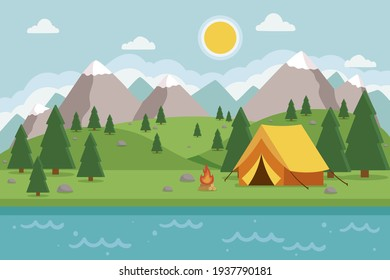 Сamping landscape. Countryside nature. Tent. Tourism - expedition, travel, explore. Outdoor recreation. Vector illustration.  - Shutterstock ID 1937790181