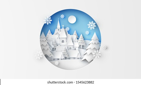 Landscape of countryside in winter with snowfall. Scenery of winter. Merry Christmas. paper cut and craft style. vector, illustration.