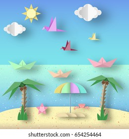 Landscape with Cut Birds, Ships, Palm Tree, Clouds and Sun Style Paper Origami Crafted World. Cutout Made Template with Elements and Symbols for Banner, Card, Poster. Vector Illustrations Art Design.