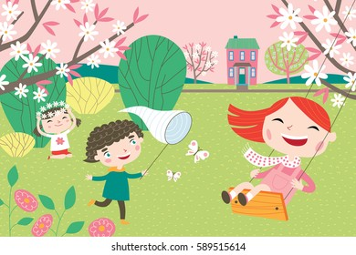 Landscape with cute children in vector. Spring and summer child's outdoor activities. Happy childhood.