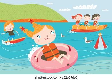 Landscape with cute children in vector. Summer child's outdoor activities. Happy childhood.