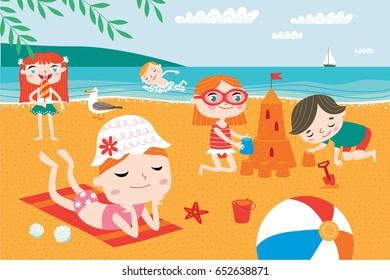 Landscape with cute children vector. Summer child's outdoor activities. Happy childhood.