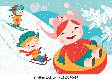Landscape with cute children in vector. Winter child's outdoor activities. Happy childhood.