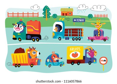 A landscape with cute little animals and kids transport. Vector illustration.