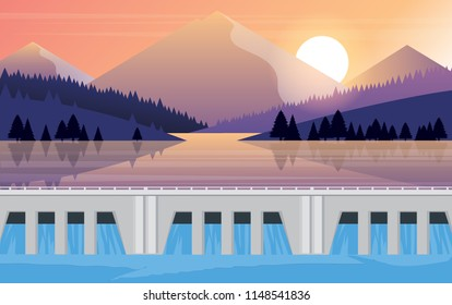 landscape of dam and mountain background