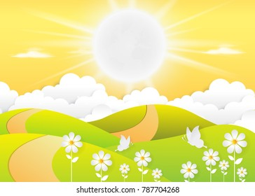 landscape Daytime sky background with Summer, clouds and sun. sunlight morning. Vector