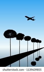 Landscape with decorative trees and flying aircraft. Vector illustration with isolated silhouettes of maples reflected in water. Blue pastel background