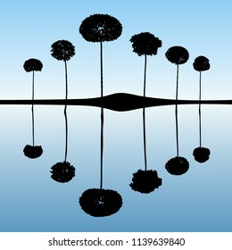 Landscape with decorative trees. Vector illustration with isolated silhouettes of maples reflected in water. Blue pastel background
