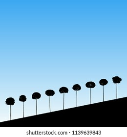 Landscape with decorative trees. Vector illustration with isolated silhouettes of maples growing on hill. Blue pastel background