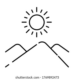 Landscape of the desert black line icon. Pictogram for web page, mobile app, promo. UI UX GUI design element. Editable stroke.