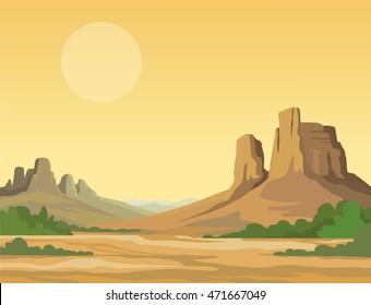 landscape of the desert.  Vector illustration,