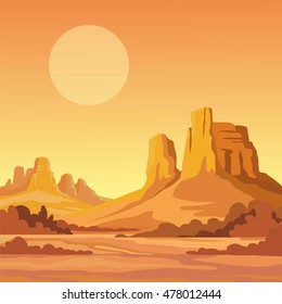 landscape of the desert. Vector illustration.