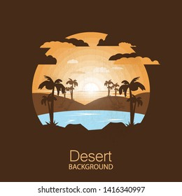 landscape desert.Oasis in the dry desert.Negative space illustration
