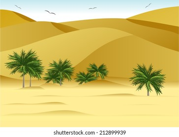 Landscape to deserts, dunes and palm trees