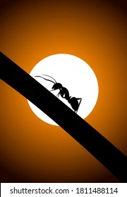 Landscape design of an Ant climbing a tree with colorful background with Sun - vector illustration