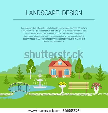 Landscape Design Banner Poster Brochure Template Stock Vector ...