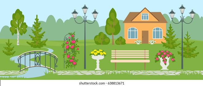 Landscape design banner or poster with different objects including house, garden path, streetlamp, bench, garden bridge, climbing roses, birch, fir-trees, flower vases. Vector flat style illustration.