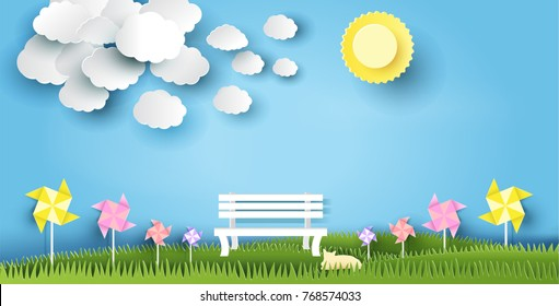landscape design with bench on grass, sun, cloud, cat, paper art style, on pastel color background. vector illustration