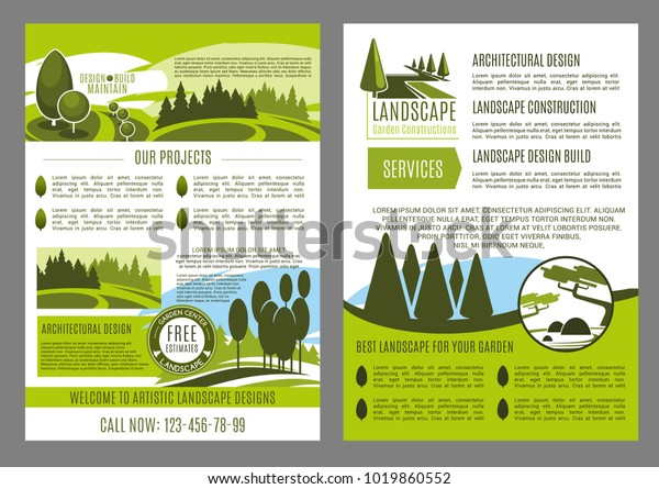 Landscape Design Company Business Brochure Template Stock Vector Royalty Free 1019860552