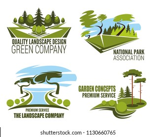 Landscape design company icon with park, garden and forest tree. Green plant and grass isolated symbol for landscaping architecture studio and lawn care service emblem design