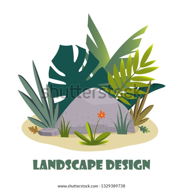 Landscape Design Composition Plant Stones Cute Stock Vector