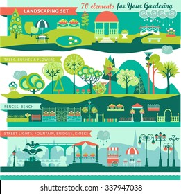 Landscape Design Constructor. City, Parks and Gardens Decoration Elements and Flora Vector Set. Fences, Lightning, Trees, Pavilions, Bridges, Yards, Gardens in Flat Vector set With 70 Objects.