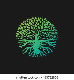 Landscape Design Creative Vector Concept. Tree With Roots Inside Circle Organic Sign