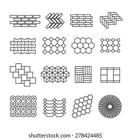 landscape design elements, pavement pattern vector set
