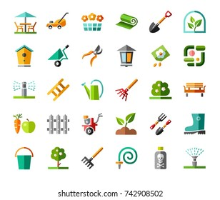 Landscape design, icons, colored, vector. Arrangement of land. Equipment for horticulture. Colored flat icons with a 3D effect on a white background.