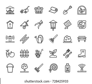 Landscape design, icons, line, monochrome, vector. Arrangement of land. Equipment for horticulture. Black contour icons on white background.