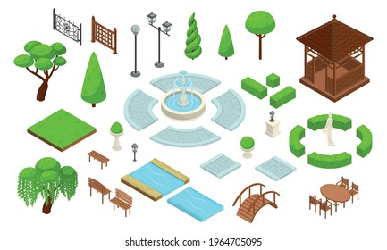 Landscape design park isometric constructor icon set with different types of green plantings of bushes of trees walking paths and architectural elements vector illustration