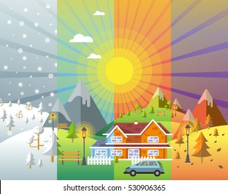 landscape design set with Winter, Spring, Summer, Autumn. houses, 4 seasons set.