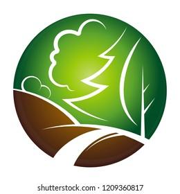 Landscape design symbol with trees