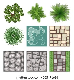 Landscape design top view vector elements. Plant tree, outdoor gardening element, bush and branch, vector illustration