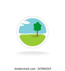Landscape design vector logo template